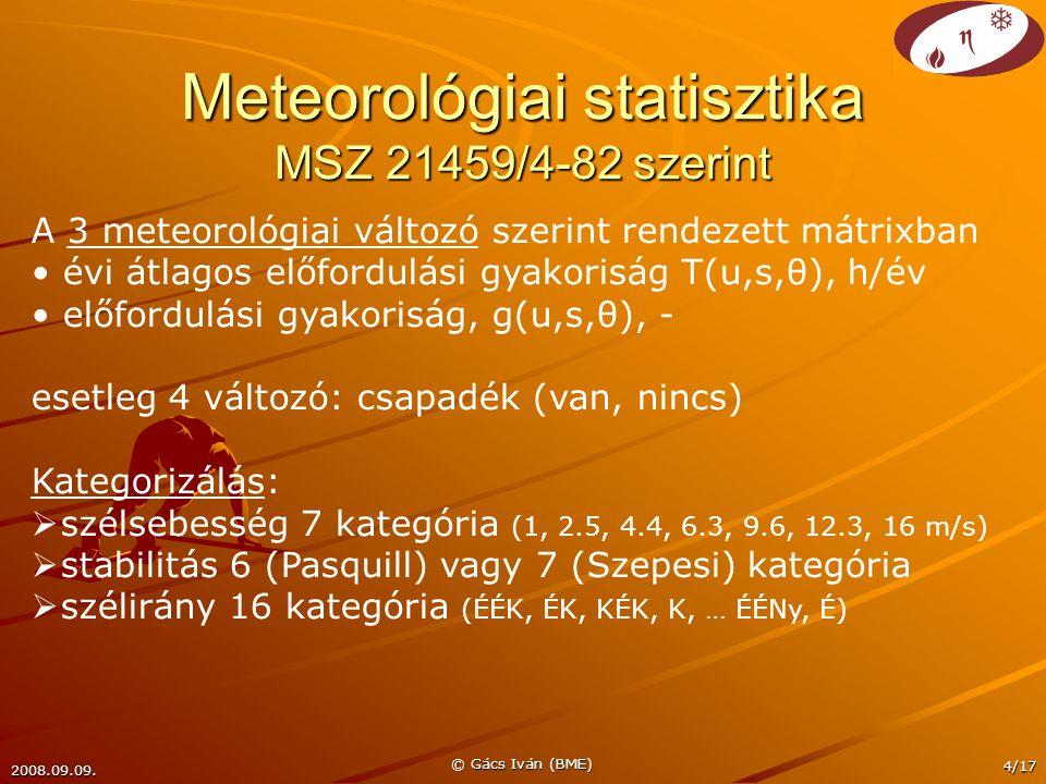 2008.09.09. © Gács Iván (BME) 4/17 Meteorológiai statisztika MSZ 21459/4-82 szerint A 3 meteorológiai változó szerint rendezett mátrixban évi átlagos