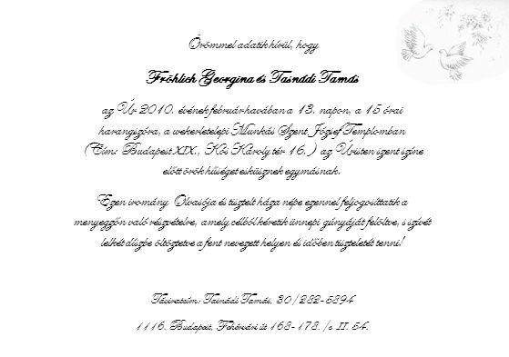 Örömmel adatik hírül, hogy Fröhlich Georgina és Tasnádi Tamás az Úr 2010.