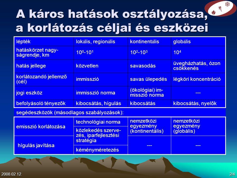 2008.02.12. 2/4 A káros hatások osztályozása, a korlátozás céljai és eszközei léptéklok á lis, region á liskontinent á lisglob á lis hatáskörzet nagy-