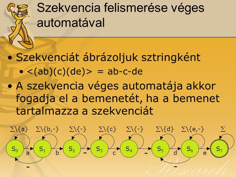 Szekvencia felismerése véges automatával Szekvenciát ábrázoljuk sztringként = ab-c-de A szekvencia véges automatája akkor fogadja el a bemenetét, ha a bemenet tartalmazza a szekvenciát S0S0 S1S1 S2S2 S3S3 S4S4 S5S5 S6S6 S7S7 ab - c - de - - \{a}\{b,-}\{-}\{c}\{-}\{d}\{e,-}