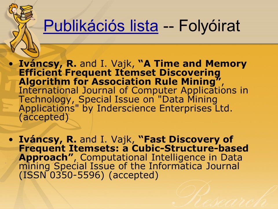 Publikációs listaPublikációs lista -- Folyóirat Iváncsy, R.