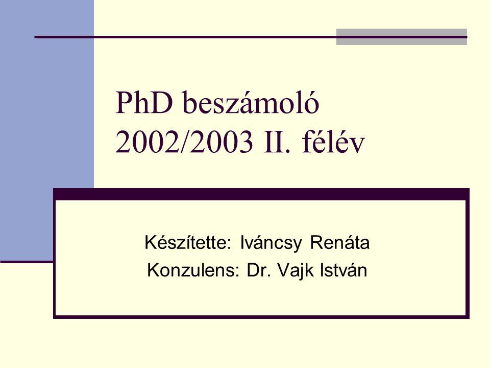 PhD beszámoló 2002/2003 II. félév Készítette: Iváncsy Renáta Konzulens: Dr. Vajk István