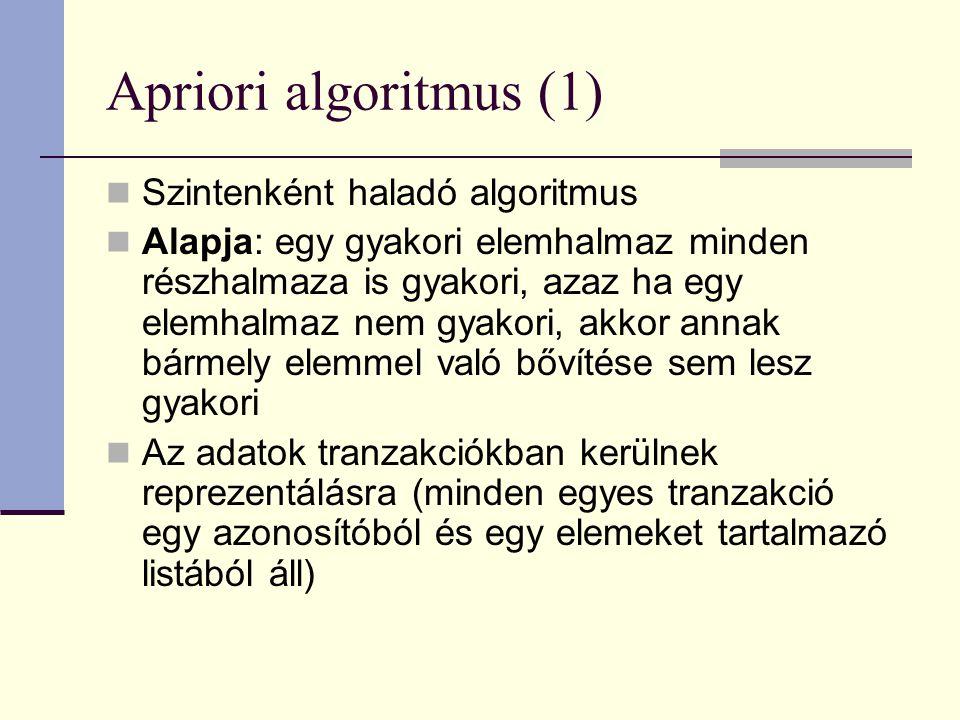 Apriori algoritmus (1) Szintenként haladó algoritmus Alapja: egy gyakori elemhalmaz minden részhalmaza is gyakori, azaz ha egy elemhalmaz nem gyakori, akkor annak bármely elemmel való bővítése sem lesz gyakori Az adatok tranzakciókban kerülnek reprezentálásra (minden egyes tranzakció egy azonosítóból és egy elemeket tartalmazó listából áll)