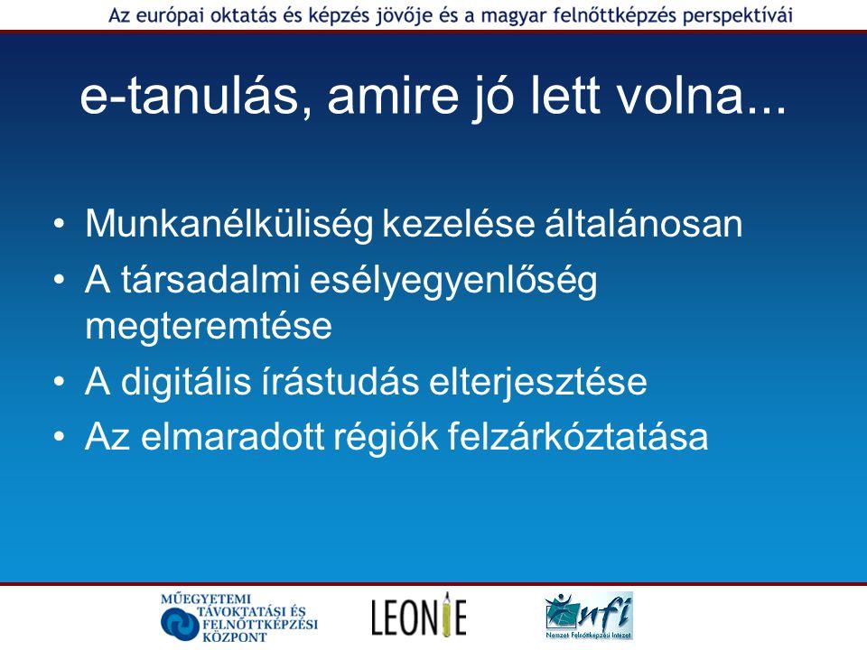 e-tanulás, amire jó lett volna... Munkanélküliség kezelése általánosan A társadalmi esélyegyenlőség megteremtése A digitális írástudás elterjesztése A