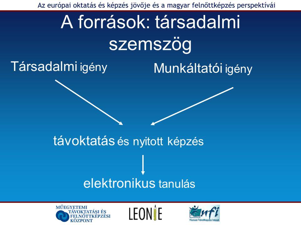A források: társadalmi szemszög Társadalmi igény Munkáltatói igény távoktatás és nyitott képzés elektronikus tanulás