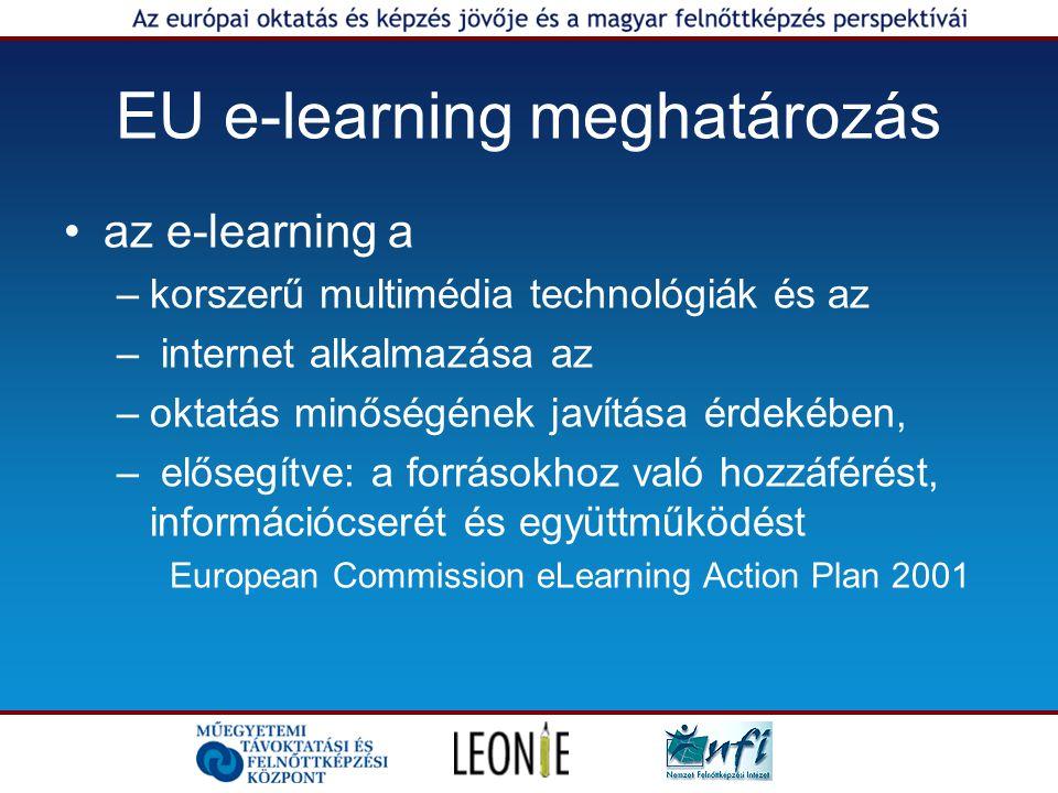 EU e-learning meghatározás az e-learning a –korszerű multimédia technológiák és az – internet alkalmazása az –oktatás minőségének javítása érdekében, – elősegítve: a forrásokhoz való hozzáférést, információcserét és együttműködést European Commission eLearning Action Plan 2001