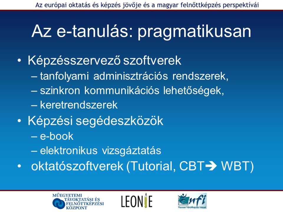 Az e-tanulás: pragmatikusan Képzésszervező szoftverek –tanfolyami adminisztrációs rendszerek, –szinkron kommunikációs lehetőségek, –keretrendszerek Képzési segédeszközök –e-book –elektronikus vizsgáztatás oktatószoftverek (Tutorial, CBT  WBT)