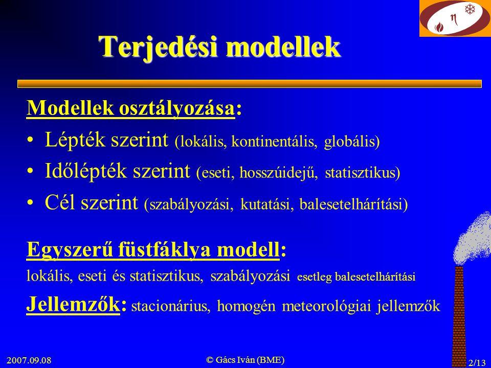 2007.09.08 © Gács Iván (BME) 13/13 A modell levezetés hibái u ≠ f(z) (integrálásnál u kiemelése) ∞ tér (integrálás -∞-től +∞-ig ) λ = 0 (terjedés során anyagáram nem változik) w = 0 (legvalószínűbb érték z = H-nál) q ≠ f(t) (rögzített meteorológiai paraméterek)
