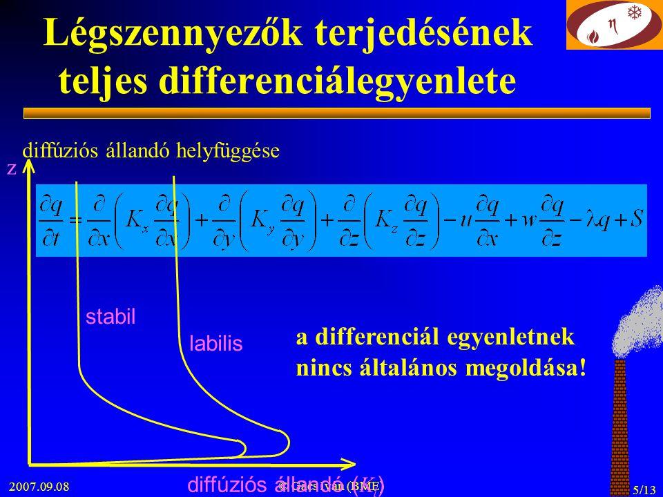 2007.09.08 © Gács Iván (BME) 5/13 Légszennyezők terjedésének teljes differenciálegyenlete a differenciál egyenletnek nincs általános megoldása! diffúz