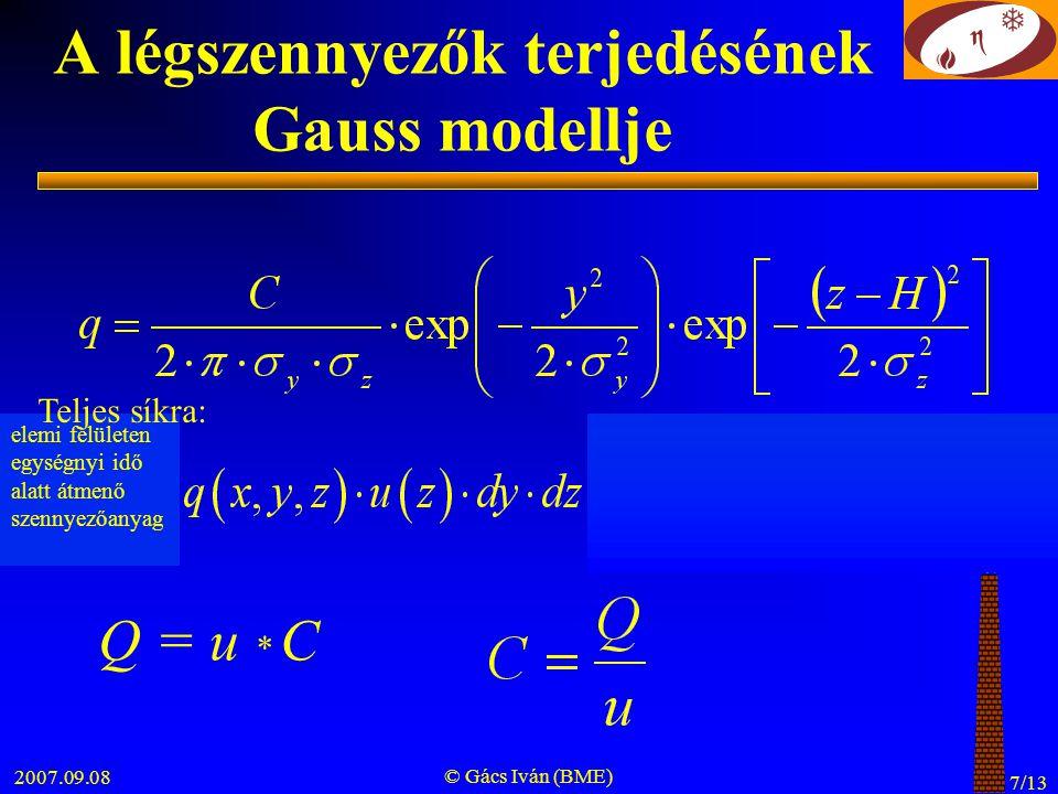 2007.09.08 © Gács Iván (BME) 7/13 A légszennyezők terjedésének Gauss modellje elemi felületen egységnyi idő alatt átmenő szennyezőanyag Teljes síkra: