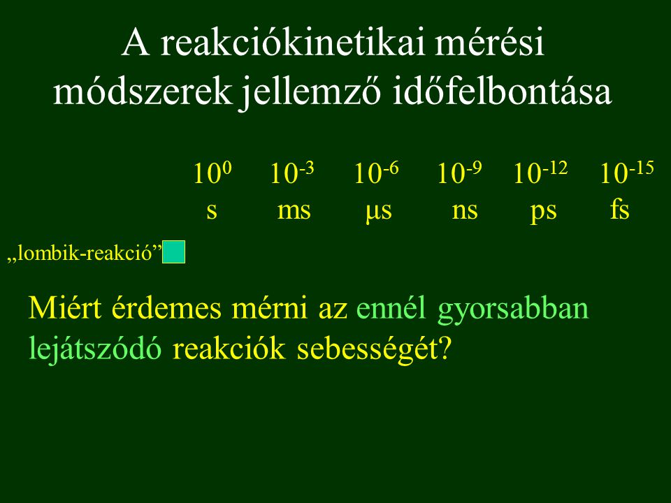 """10 0 10 -3 10 -6 10 -9 10 -12 10 -15 s ms μs ns ps fs """"lombik-reakció"""" A reakciókinetikai mérési módszerek jellemző időfelbontása Miért érdemes mérni"""