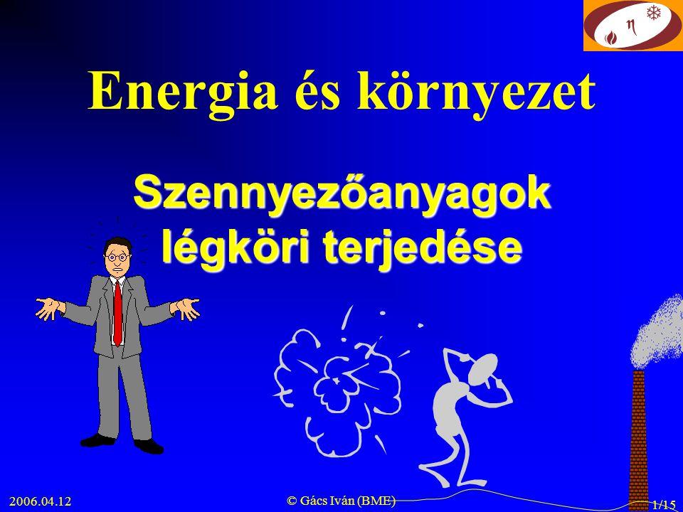 2006.04.12 © Gács Iván (BME) 1/15 Energia és környezet Szennyezőanyagok légköri terjedése