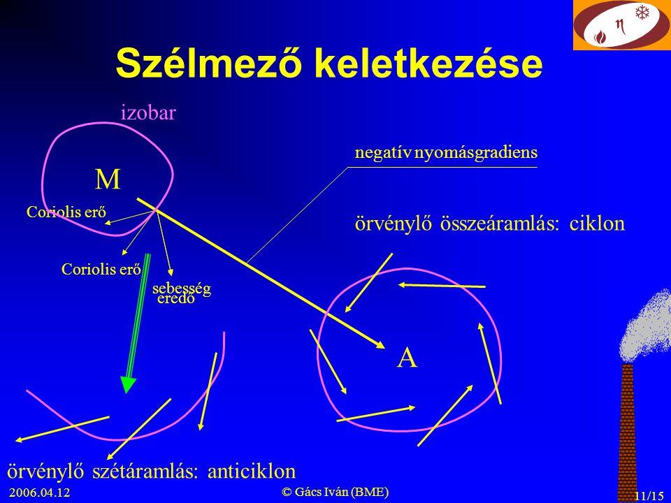 2006.04.12 © Gács Iván (BME) 11/15 Szélmező keletkezése M A negatív nyomásgradiens Coriolis erő eredő sebesség Coriolis erő izobar örvénylő szétáramlá