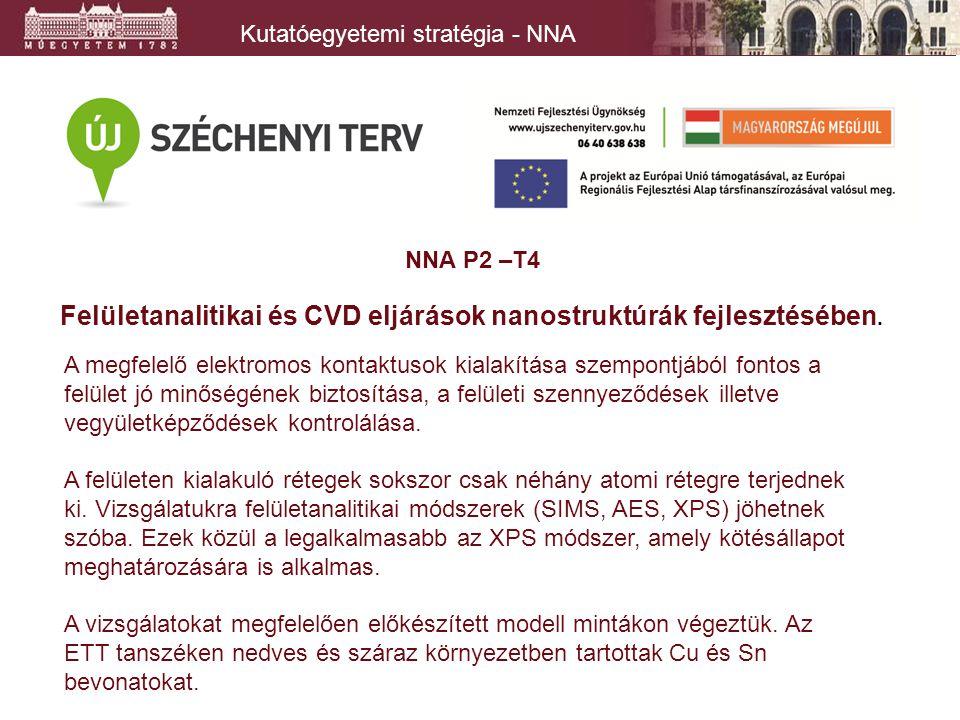 Kutatóegyetemi stratégia - NNA NNA P2 –T4 Felületanalitikai és CVD eljárások nanostruktúrák fejlesztésében.