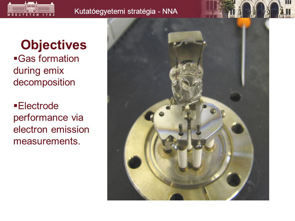 Kutatóegyetemi stratégia - NNA Objectives  Gas formation during emix decomposition  Electrode performance via electron emission measurements.