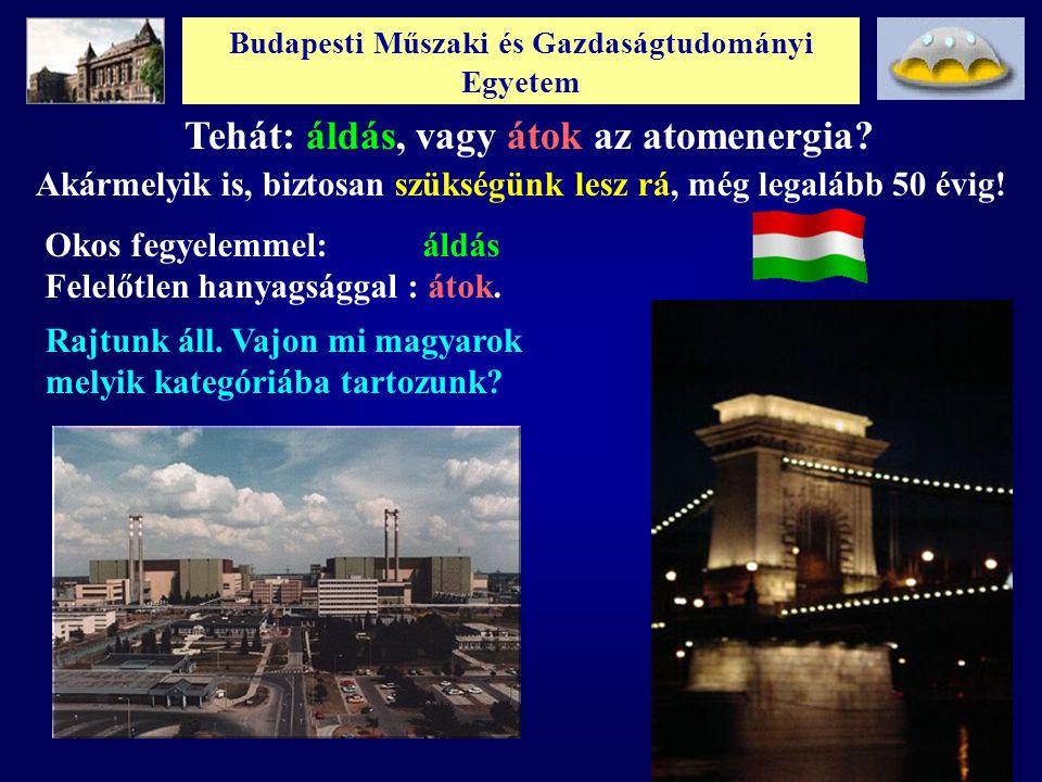 Budapesti Műszaki és Gazdaságtudományi Egyetem Tehát: áldás, vagy átok az atomenergia? Okos fegyelemmel: áldás Felelőtlen hanyagsággal : átok. Rajtunk