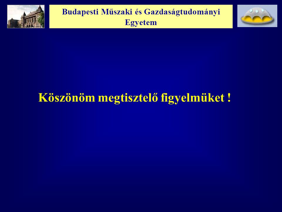 Budapesti Műszaki és Gazdaságtudományi Egyetem Köszönöm megtisztelő figyelmüket !