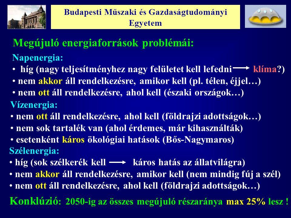 Budapesti Műszaki és Gazdaságtudományi Egyetem Megújuló energiaforrások problémái: Napenergia: híg (nagy teljesítményhez nagy felületet kell lefedni k