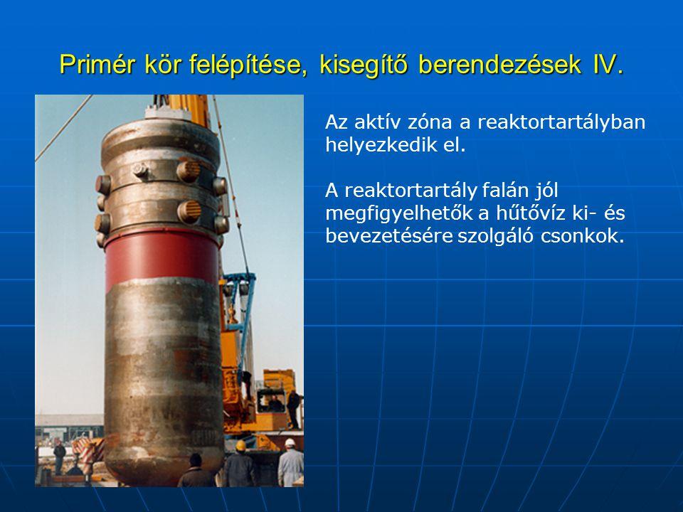 Primér kör felépítése, kisegítő berendezések IV. Az aktív zóna a reaktortartályban helyezkedik el. A reaktortartály falán jól megfigyelhetők a hűtővíz