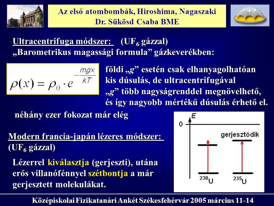 Az első atombombák, Hiroshima, Nagaszaki Dr. Sükösd Csaba BME Középiskolai Fizikatanári Ankét Székesfehérvár 2005 március 11-14 Ultracentrifuga módsze