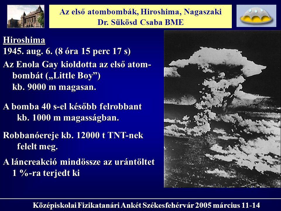 Hiroshima 1945. aug. 6. (8 óra 15 perc 17 s) Az első atombombák, Hiroshima, Nagaszaki Dr. Sükösd Csaba BME Középiskolai Fizikatanári Ankét Székesfehér