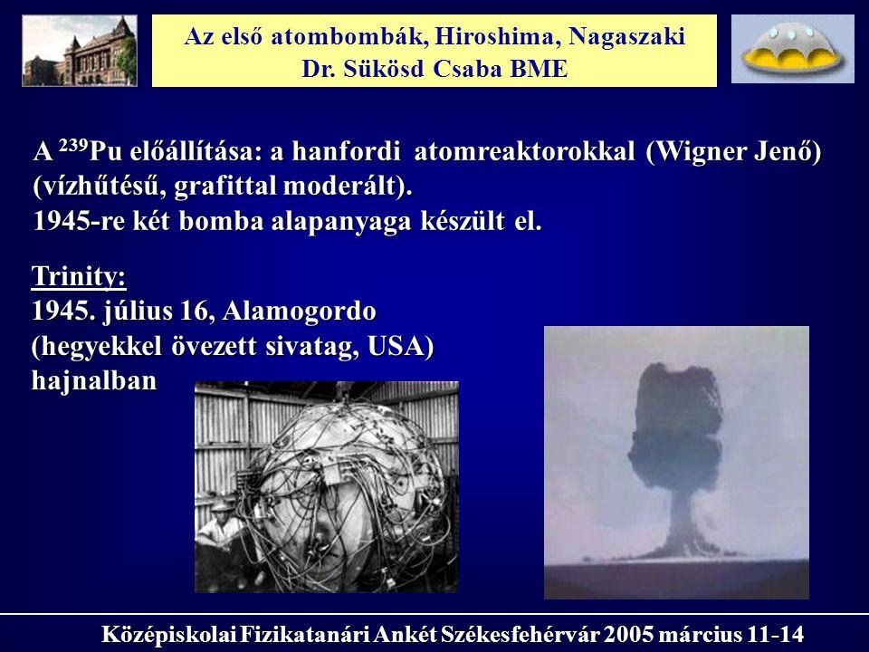 Az első atombombák, Hiroshima, Nagaszaki Dr. Sükösd Csaba BME Középiskolai Fizikatanári Ankét Székesfehérvár 2005 március 11-14 A 239 Pu előállítása: