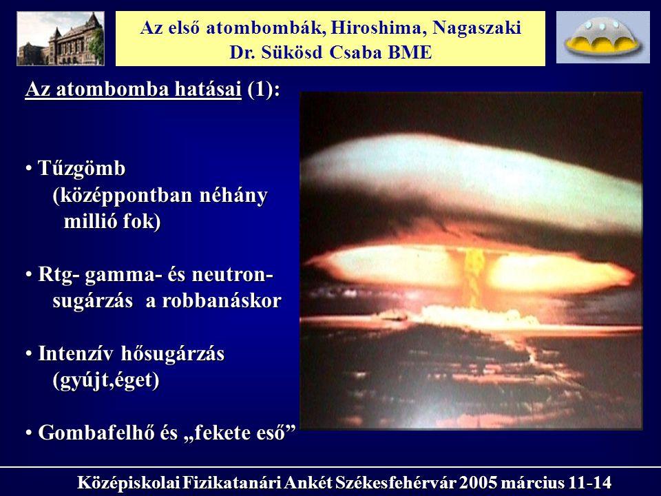 Az első atombombák, Hiroshima, Nagaszaki Dr. Sükösd Csaba BME Középiskolai Fizikatanári Ankét Székesfehérvár 2005 március 11-14 Az atombomba hatásai (