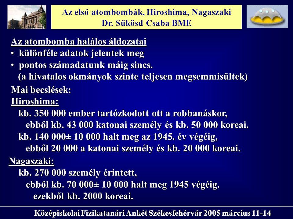 Az első atombombák, Hiroshima, Nagaszaki Dr. Sükösd Csaba BME Középiskolai Fizikatanári Ankét Székesfehérvár 2005 március 11-14 Az atombomba halálos á