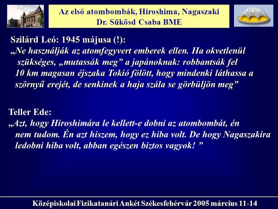 Az első atombombák, Hiroshima, Nagaszaki Dr. Sükösd Csaba BME Középiskolai Fizikatanári Ankét Székesfehérvár 2005 március 11-14 Szilárd Leó: 1945 máju