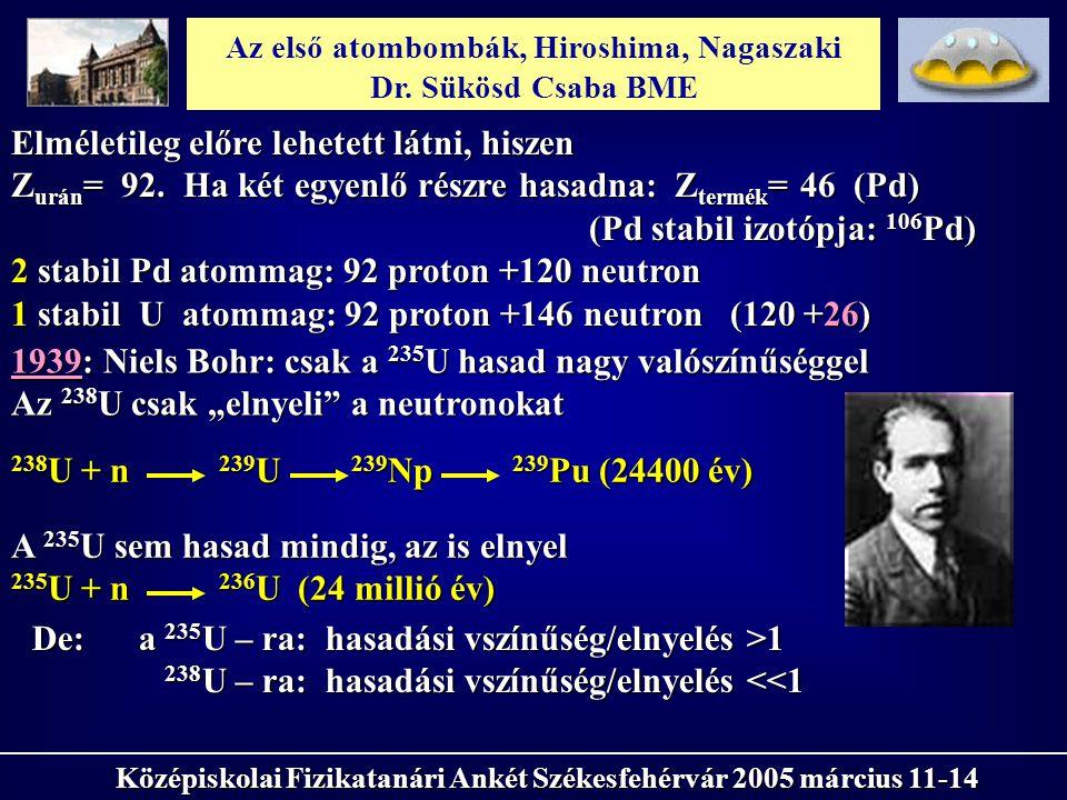 Az első atombombák, Hiroshima, Nagaszaki Dr. Sükösd Csaba BME Középiskolai Fizikatanári Ankét Székesfehérvár 2005 március 11-14 1939: Niels Bohr: csak