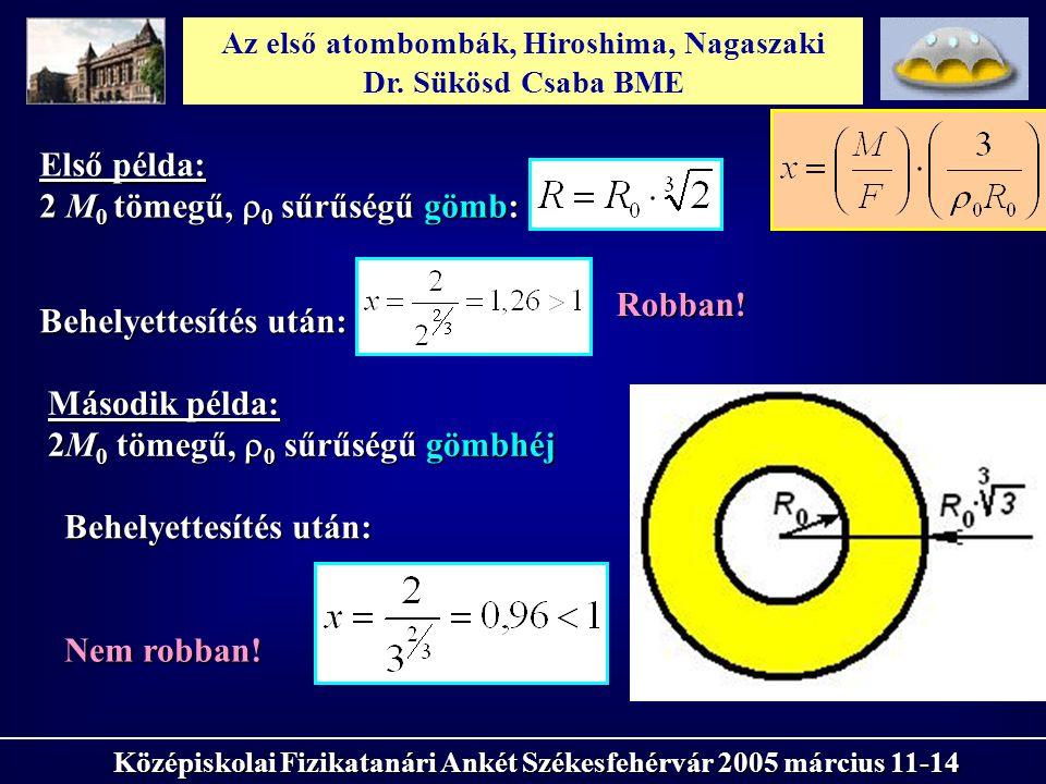 Az első atombombák, Hiroshima, Nagaszaki Dr. Sükösd Csaba BME Középiskolai Fizikatanári Ankét Székesfehérvár 2005 március 11-14 Első példa: 2 M 0 töme