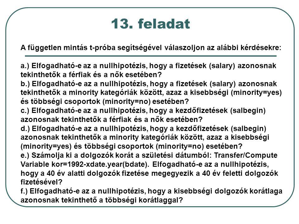 13. feladat A független mintás t-próba segítségével válaszoljon az alábbi kérdésekre: a.) Elfogadható-e az a nullhipotézis, hogy a fizetések (salary)