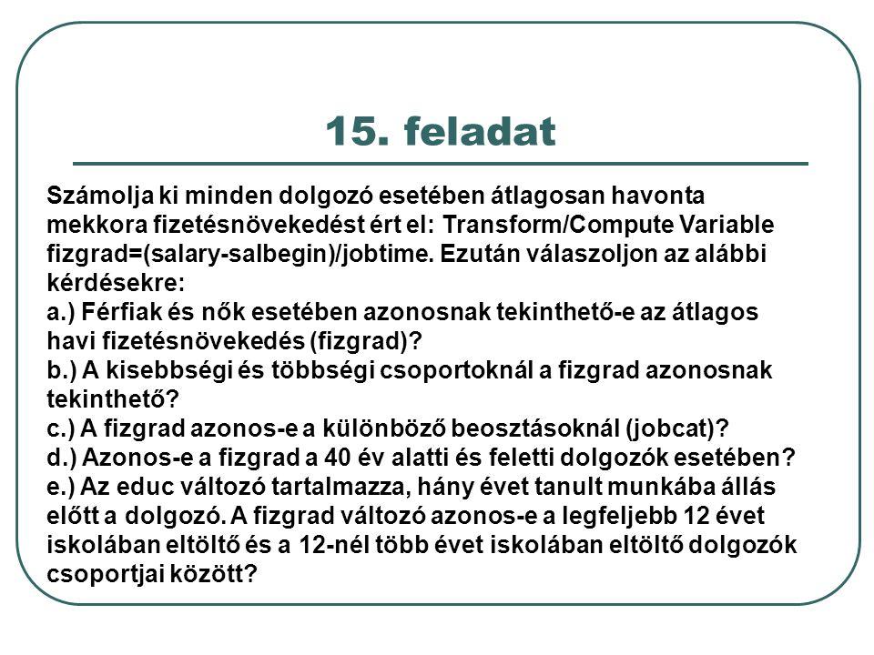 15. feladat Számolja ki minden dolgozó esetében átlagosan havonta mekkora fizetésnövekedést ért el: Transform/Compute Variable fizgrad=(salary-salbegi