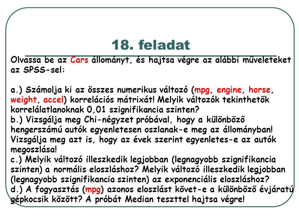18. feladat Olvassa be az Cars állományt, és hajtsa végre az alábbi műveleteket az SPSS-sel: a.) Számolja ki az összes numerikus változó (mpg, engine,