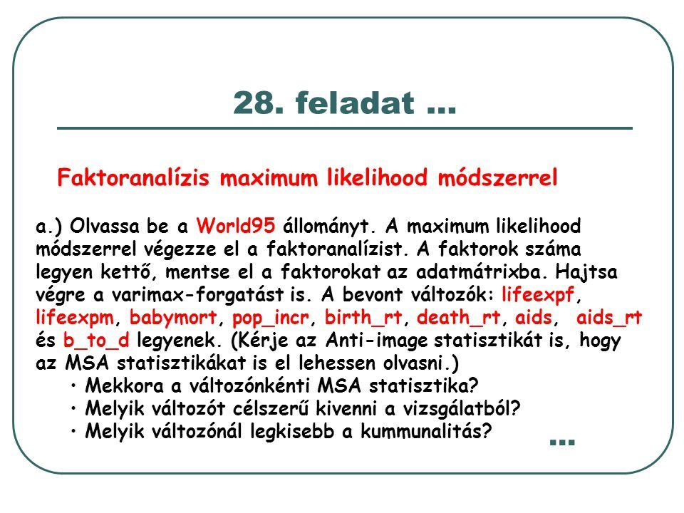 28. feladat … a.) Olvassa be a World95 állományt. A maximum likelihood módszerrel végezze el a faktoranalízist. A faktorok száma legyen kettő, mentse