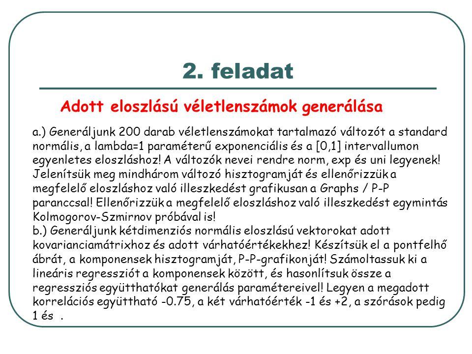 2. feladat Adott eloszlású véletlenszámok generálása a.) Generáljunk 200 darab véletlenszámokat tartalmazó változót a standard normális, a lambda=1 pa