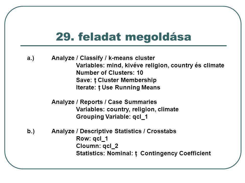 29. feladat megoldása a.)Analyze / Classify / k-means cluster Variables: mind, kivéve religion, country és climate Number of Clusters: 10 Save: ţ Clus