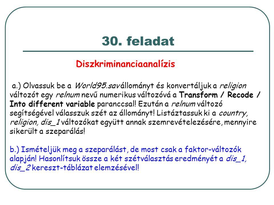 30. feladat Diszkriminanciaanalízis a.) Olvassuk be a World95.sav állományt és konvertáljuk a religion változót egy relnum nevű numerikus változóvá a