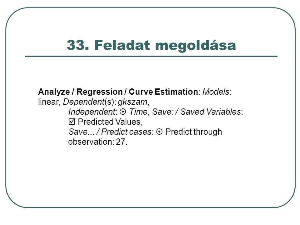 33. Feladat megoldása Analyze / Regression / Curve Estimation: Models: linear, Dependent(s): gkszam, Independent:  Time, Save: / Saved Variables:  P