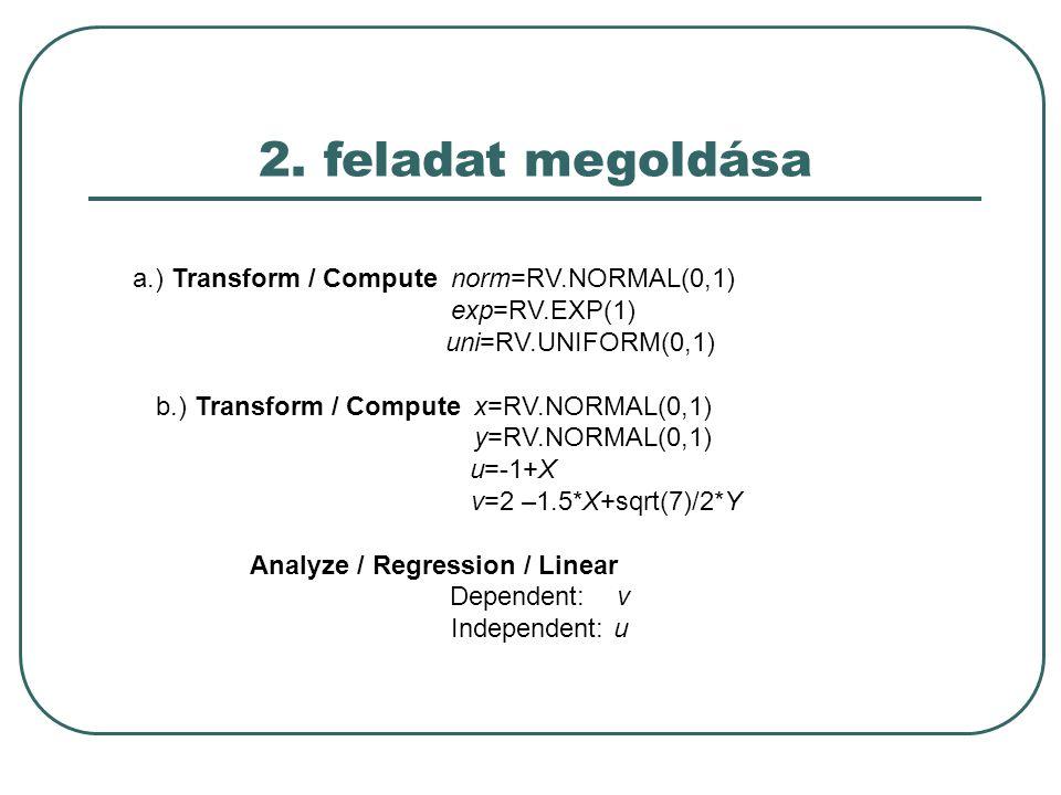 2. feladat megoldása a.) Transform / Compute norm=RV.NORMAL(0,1) exp=RV.EXP(1) uni=RV.UNIFORM(0,1) b.) Transform / Compute x=RV.NORMAL(0,1) y=RV.NORMA