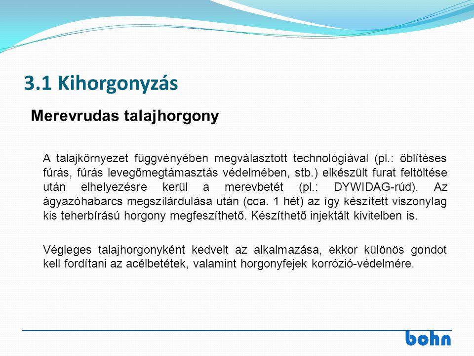 bohn 3.1 Kihorgonyzás A talajkörnyezet függvényében megválasztott technológiával (pl.: öblítéses fúrás, fúrás levegőmegtámasztás védelmében, stb.) elk