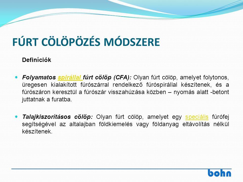 bohn FÚRT CÖLÖPÖZÉS MÓDSZERE Definíciók Folyamatos spirállal fúrt cölöp (CFA): Olyan fúrt cölöp, amelyet folytonos, üregesen kialakított fúrószárral r
