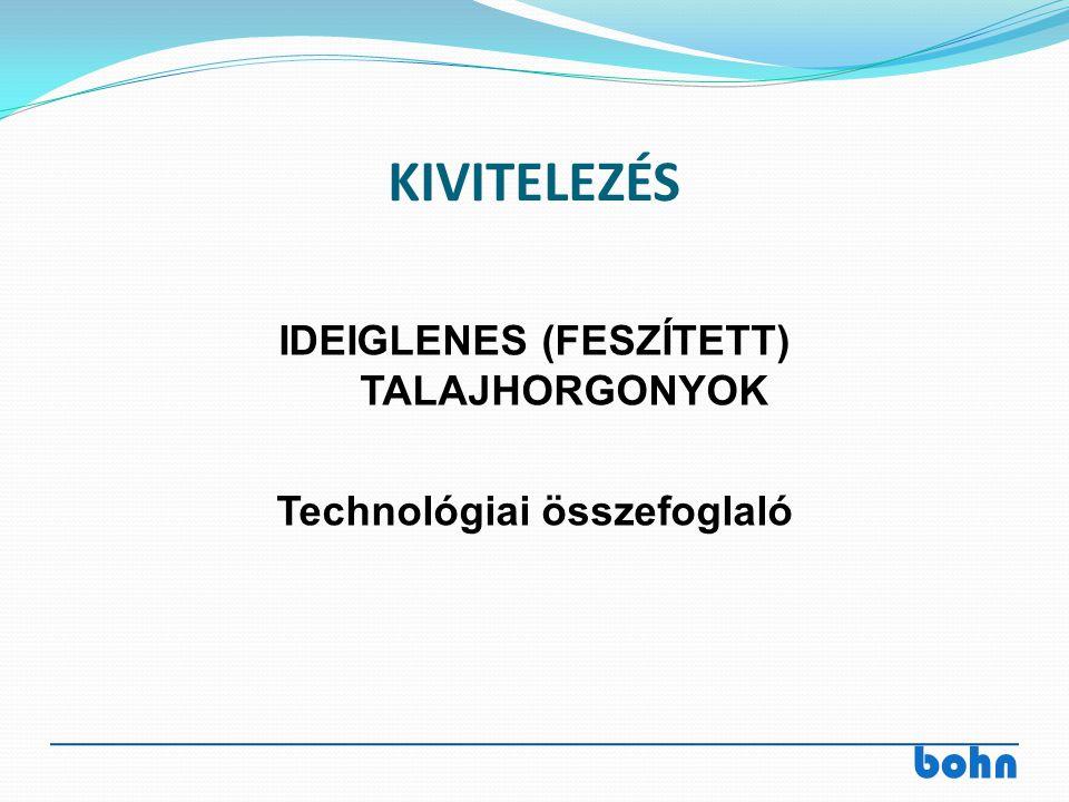 bohn KIVITELEZÉS IDEIGLENES (FESZÍTETT) TALAJHORGONYOK Technológiai összefoglaló