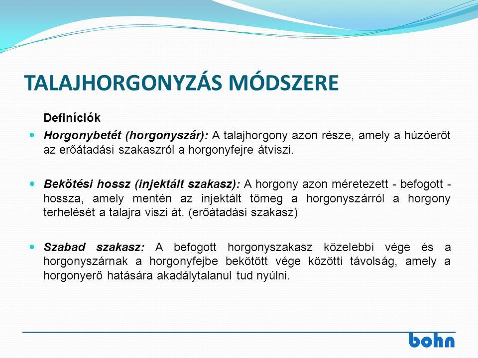 bohn TALAJHORGONYZÁS MÓDSZERE Definíciók Horgonybetét (horgonyszár): A talajhorgony azon része, amely a húzóerőt az erőátadási szakaszról a horgonyfej