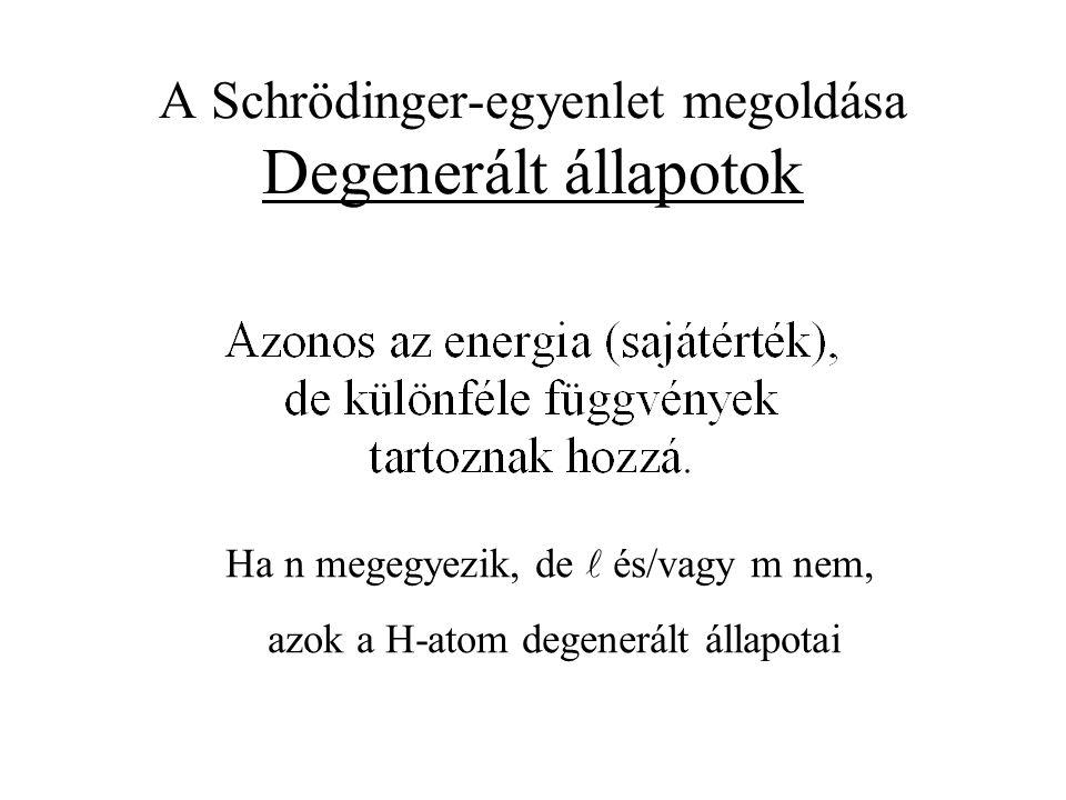 Ha n megegyezik, de és/vagy m nem, azok a H-atom degenerált állapotai
