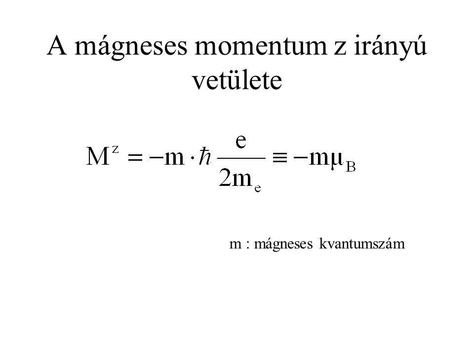 A mágneses momentum z irányú vetülete m : mágneses kvantumszám