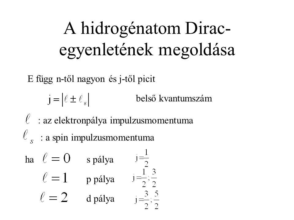 A hidrogénatom Dirac- egyenletének megoldása E függ n-től nagyon és j-től picit : az elektronpálya impulzusmomentuma : a spin impulzusmomentuma ha d p
