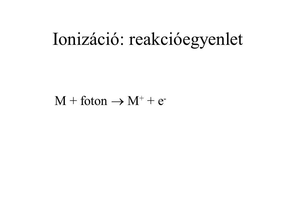 Ionizáció: reakcióegyenlet M + foton  M + + e -