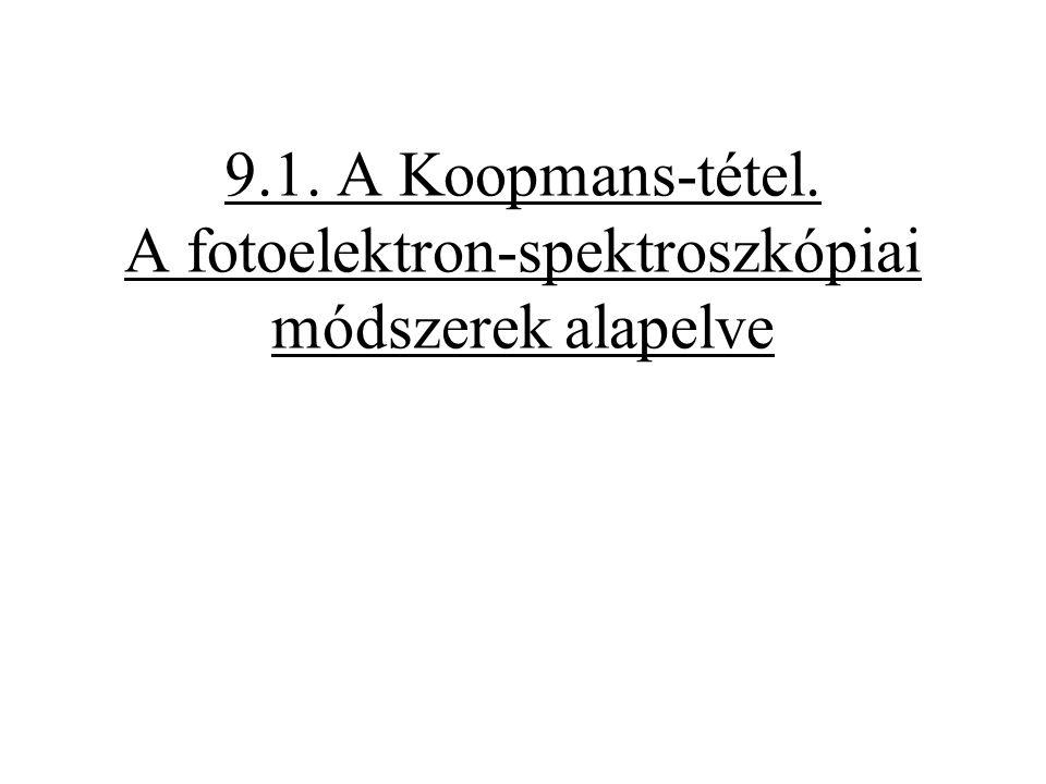 Fotoelektron-spektroszkópia (Photo Electron Spectroscopy = PES IONIZÁCIÓS SPEKTROSZKÓPIAI MÓDSZER.
