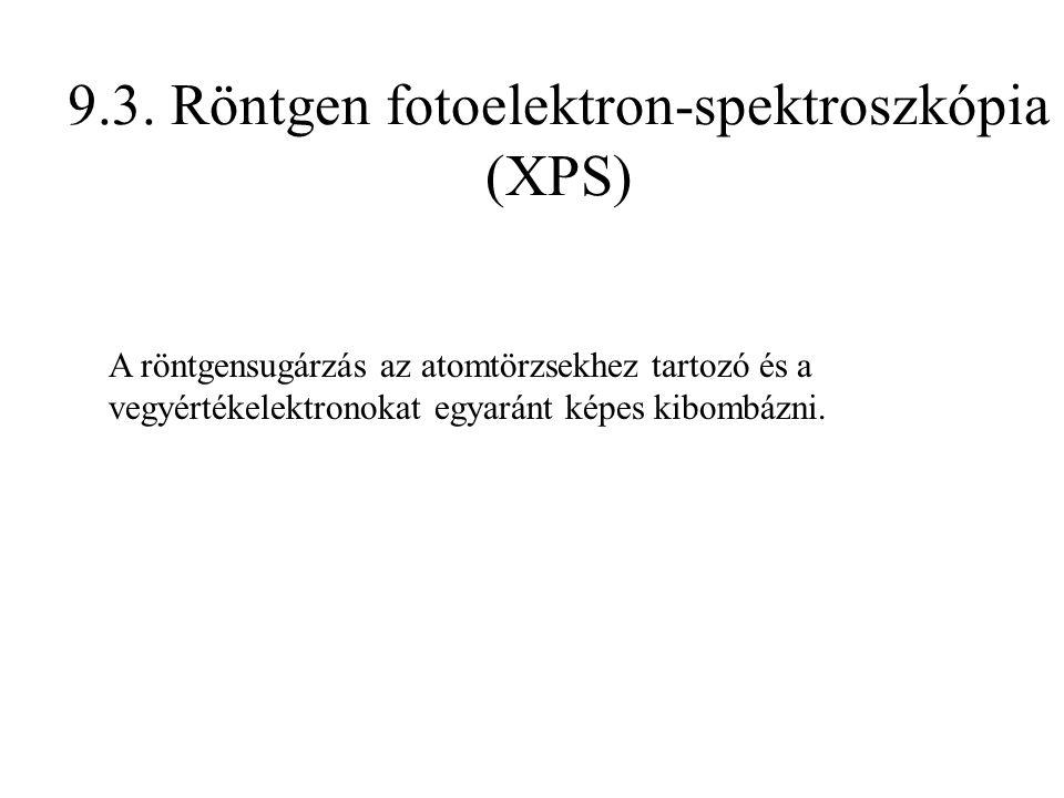 9.3. Röntgen fotoelektron-spektroszkópia (XPS) A röntgensugárzás az atomtörzsekhez tartozó és a vegyértékelektronokat egyaránt képes kibombázni.
